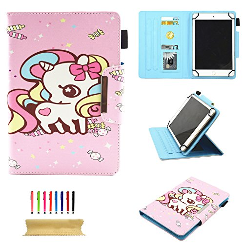 Uliking Universal Case for All 9.5-10.5 Inch Touchscreen Android Tablet, Stand Folio PU Leather Wallet Cover with Card Slots Pencil Holder for Kindle Samsung Apple ipad Tablet,ect, Pink Candy Horse ()