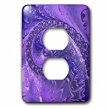 3dRose Andrea Haase Art Illustration - Abstract Art Flourish Fractal In Purple And Lilac - Light Switch Covers - 2 plug outlet cover (lsp_282511_6)