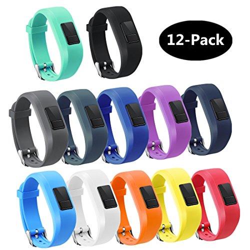 TECKMICO 12PCS Colorful Bands For Garmin Vivofit 3,Garmin Vivofit JR NO Tracker (Buckle Design, 12-Pack)