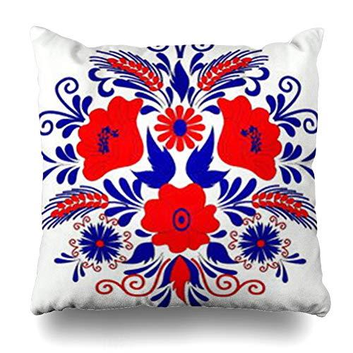 Ahawoso Throw Pillow Cover Hungarian Abstract Folk Artistic Pattern Culture Drawn Floral Art Home Decor Sofa Pillowcase Square Size 16 x 16 Inches Cushion Case