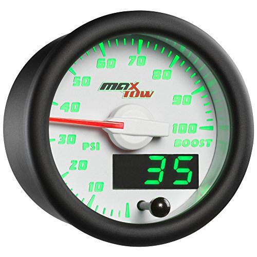 MaxTow Double Vision 100 PSI Turbo Boost Gauge Kit - Includes Electronic Pressure Sensor - White Gauge Face - Green LED Illuminated Dial - Analog & Digital Readouts - for Trucks - 2-1/16