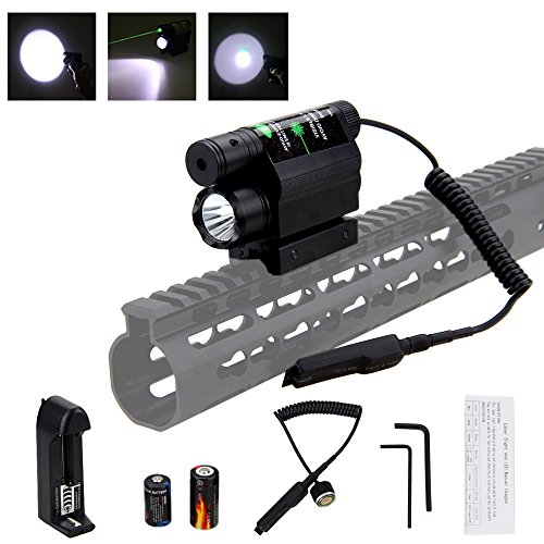 VASTFIRE [UPDATED] Tactical Flashlight Laser Combo with Dual 11mm 20mm Picatinny Weaver Rails, 200 Lumen Compact Weapon Light All metal construction for Home Defense - Laser Weapon Mount Tactical Light