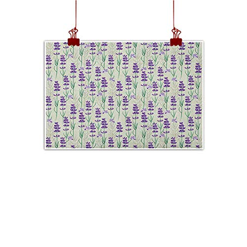 Outdoor Nature Inspiration Poster Wilderness Lavender,Botanical Pattern with Fresh Herbs Aromatherapy Spa Theme, Pale Sage Green Violet and Green 36