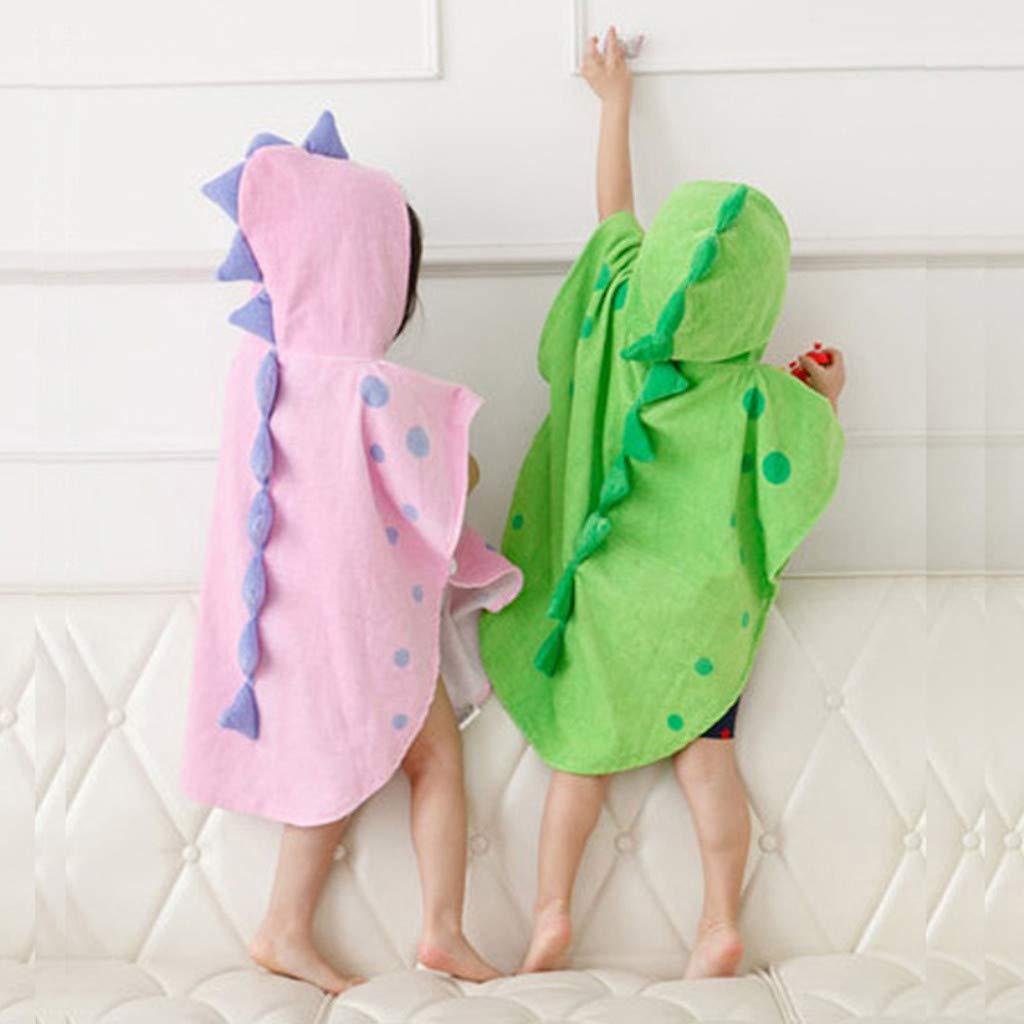 Smileyth Kids Bathrobe Cute Cartoon Dinosaur Nightgown Hooded Bath Towel Pajamas Soft Cotton Shawl Cloak Sleepwear for Infant Toddler Baby Boys Girls