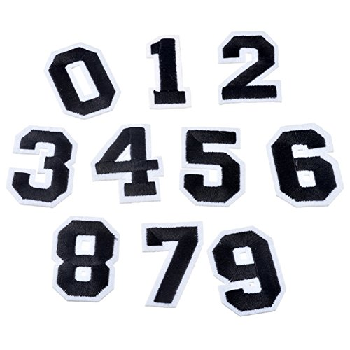 Partyfareast Number/Letter Set Patches For Clothing Iron On Applique Embroidery Sticker Badge DIY (0-9 number set)