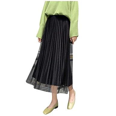 ROUNYY Falda para Mujer, Moderna, Cintura Alta, Plisada, Media ...