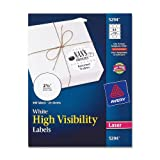Avery High Visibility 2 1/2 Inch Diameter White Labels 300 Pack (5294)