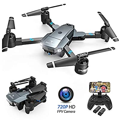 SNAPTAIN A15 Foldable FPV WiFi Drone w/Voice Control/120°Wide-Angle 720P HD Camera/Trajectory Flight/Altitude Hold/G-Sensor/3D Flips/Headless Mode/One Key Return/2 Modular Batteries/App Control from SNAPTAIN