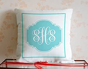 JeremyArtStore Fashion Initial Monogram Cotton Linen Pillow Cover 18 x 18 Inch