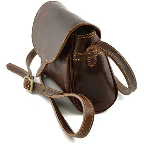 Für Schultertasche Braun Damen Mini Lederwaren Italienische Aus Farbe Leder Damentasche RwUUvgx