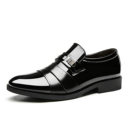 Mens Breathable Patent Leather Business Pointy Toe Slip On Dress Formal Shoes