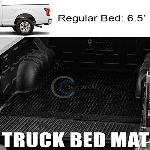 Velocity Racing Black Rubber Diamond Plate Truck Bed Trunk Floor Mat Carpet 15-17 F150 6.5 Ft 78