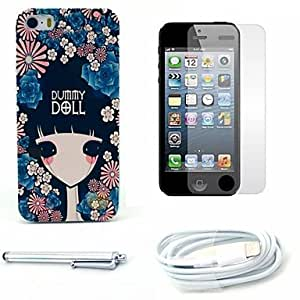 SHOUJIKE Flower Girl Pattern Hard Case and Screen Protector and Stylus and Cable for iPhone 5/5S