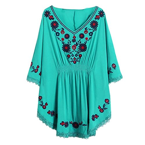 Kafeimali Women's Batwing Dressy Tunic Peasant Tops Mexican Embroidery Blouse (Blue)