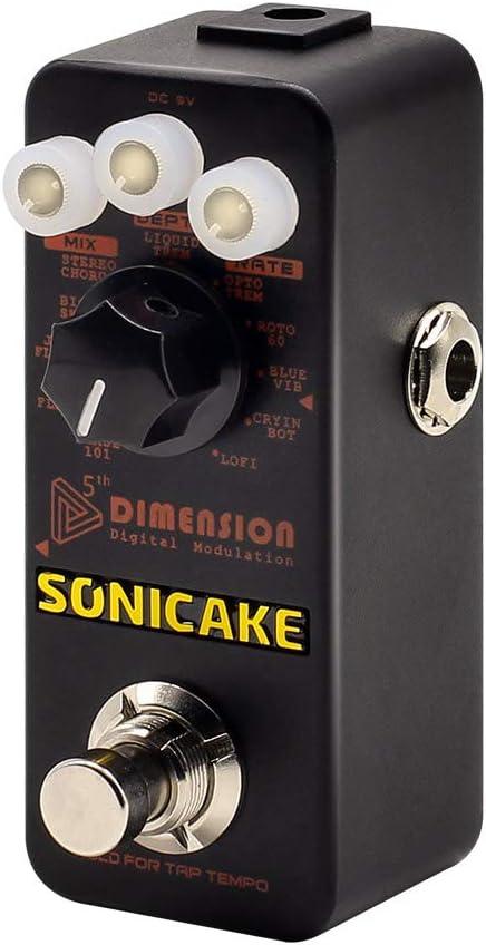SONICAKE 5th Dimension Modulación digital Efectos de guitarra Pedal 11 Modo de Phaser, Flanger, Chorus, Tremolo, Vibrato, Autowah & Sampling