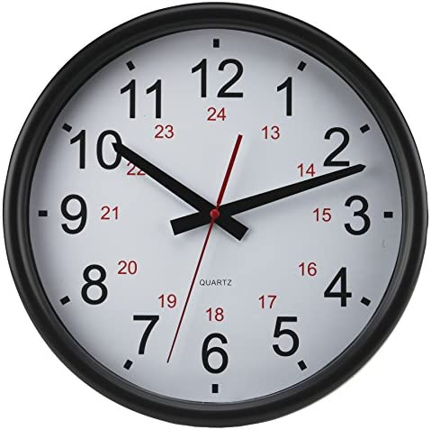 Timekeeper Tuxedo 24 Hour Clock with Flat Glass Lens and White Red Black Numbers, 14-Inch