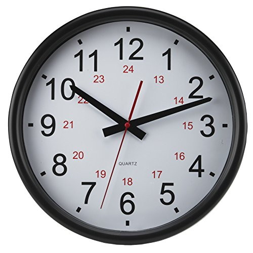 Timekeeper Tuxedo 24 Hour Clock with Flat Glass Lens and White/Red/Black Numbers, 14-Inch (Hour Red Glass)