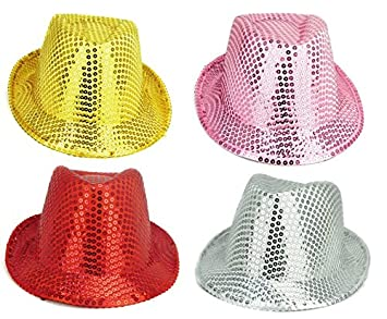 Pack Of 4 - 27cm x 14cm Sequin Trilby Hats - Fancy Dress - Red d9ccae61eda1