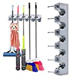 Mop and Broom Holder Wall Mounted Tool Rack Storage Organizer Utility Brush Hanger for Kitchen Bathroom Shed Garden and Garage (5 Position with 6 Hooks)