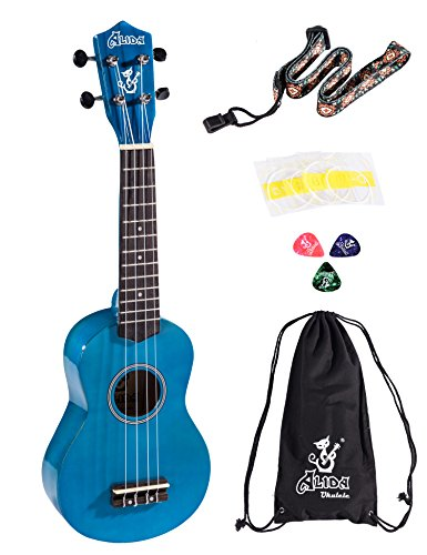 Alida Hawaiian Ukulele For Beginner Bundle Handmade Playable Soprano Navy Blue Ukulele Color included Carrying Bag, Strap, Spare Strings and Picks for Adults Kid Guitar ()