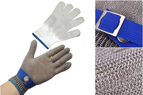 Infield Protector - 1 Sets (Not a Pair) Excellent Popular New Stainless Steel Gloves Anti-Knife Hands Protector Wire Mesh Color Silver-Blue Size XL