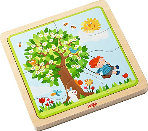 Haba Bear - HABA Wooden Puzzle My time of Year with Four Layers - One for Each Season - 22 Pieces in All - Ages 3 and Up