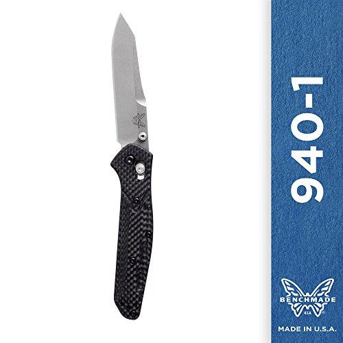 Plain Blade Black Scalpel (Benchmade - 940-1 Knife, Plain Reverse Tanto, Carbon Fiber Handle)