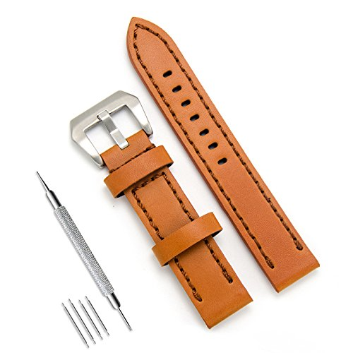 Leather Calf Large (MEGALITH Genuine Leather Watch Band 20mm 22mm 24mm Leather Watch Strap Top Calf Grain Watch Bands for Men)