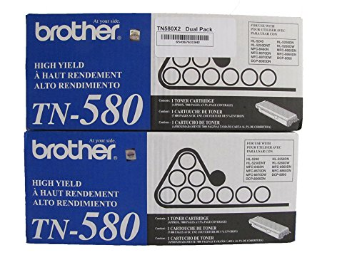 BROTHER TN580X2 TN-580 Dual Pack. Two Brother TN-580's Bundled