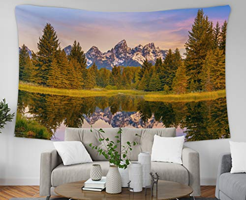 Asdecmoly Tapestry Wall Hanging Printing Tapestries for Living Room and Bedroom 60 Lx50 W Inches Mountain Range Its Reflection Grand Teton National Park USA Landscape Unique Part Art Printing Inhouse ()