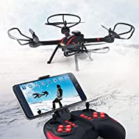 RC Quadcopter Mini Drone, JJRC 4 Channel 2.4GHz 6-Axis Gyro Helicopter with 720P HD Camera LED Lights WiFi FPV Headless Mode 3D Roll Toys Helicopter For Adult Kids Aerial Photography Racing, by ECLEAR