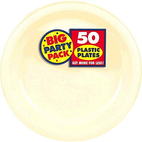 Amscan Reusable Round Vanilla Crème Plastic 10'' Pack 50 Party Supplies , 300 Pieces