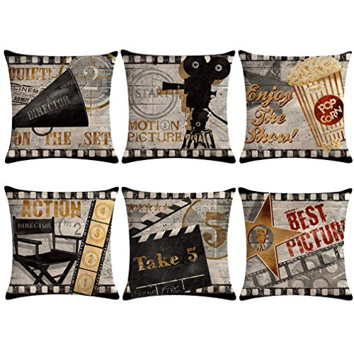 Movie Theater Throw Pillow Covers Vintage Cinema Poster Design With Popcorn,Filmstrip,Clapboard Pattern Cushion Cover Old Fashion Icons Home Decorative Pillowcases 18 X 18 Inch,Set of 6 (Decorative Pillows Theater)