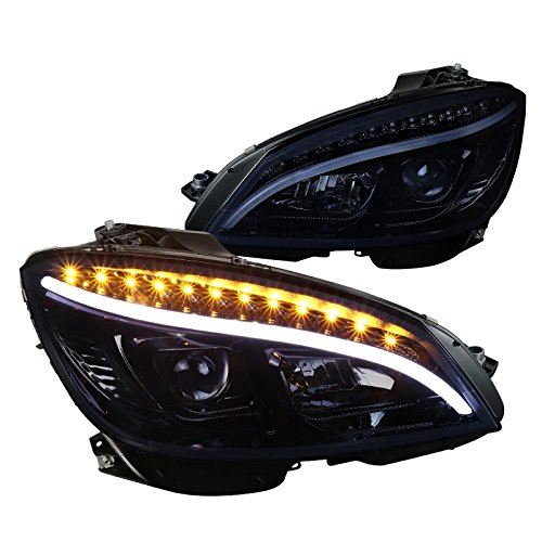 Mercedes Benz W204 C Class LED Glossy Black Projector Headlights Headlamps Pair