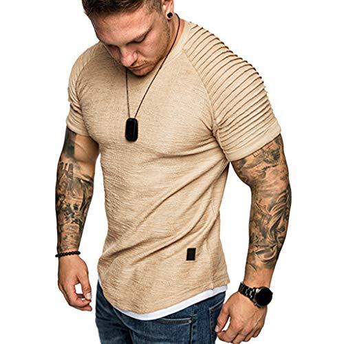 Casual T-Shirt for Mens Short Sleeve Slim Fit Top Summer Boy O-Neck Pleats Raglan Cotton Blouse