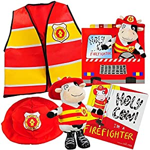 Holy Cow, I'm a Firefighter Gift Set-Includes Book, Plush Cow Toy, Fireman Hat Vest Costume Toddler Boys Kids Ages 2 3 4 5 6 Years. Great Kids Role Play, Birthday, Christmas