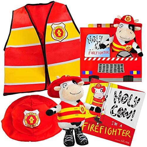 Holy Cow, I'm a Firefighter Gift Set-Includes Book, Plush Cow Toy, Fireman Hat Vest Costume Toddler Boys Kids Ages 2 3 4 5 6 Years. Great Kids Role Play, Birthday, -