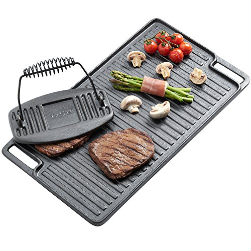 VonShef Black Pre-Seasoned Cast Iron Reversible Griddle Plate & Meat/Bacon Press18 x 10 Inches ()