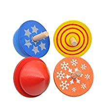 YOOMUN 4 pcs/lot Kids Wooden Toys Colorful Beyblade Spinning Top Funny Classic Game Toy for Children