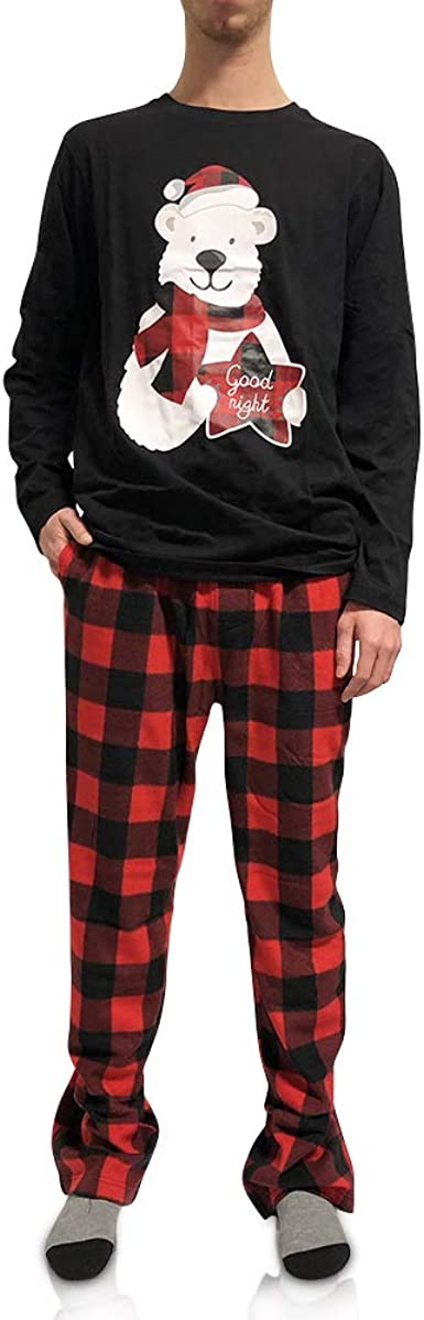 Mens 2 Piece Long Sleeve Shirt /& Microfleece Bear Pants Pajama Set Sleep Set