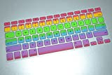 Rainbow keyboard Skin Cover, HQF Silicone Rubber Keyboard Cover Skin Stickers Protector for MacBook Air 13'' / MacBook Pro 13'' 15'' with Retina Display(Rainbow)