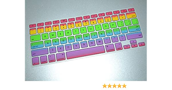 quality design 89e70 057b5 Rainbow keyboard Skin Cover, HQF Silicone Rubber Keyboard Cover Skin  Stickers Protector for MacBook Air 13