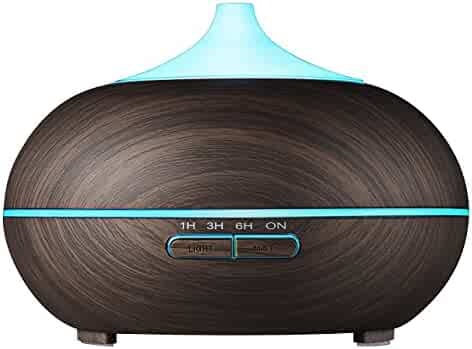 VicTsing 2nd Version Essential Oil Diffuser, 300ml Aroma Wood Grain Ultrasonic Cool Mist Humidifier with Adjustable Mist for Office Home Room Study(Deep Brown)