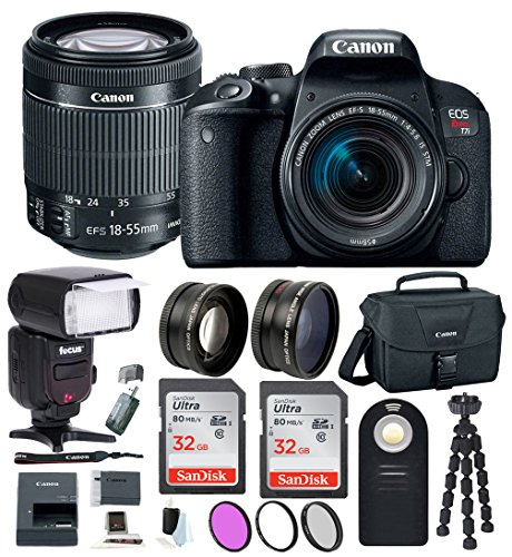 Canon EOS Rebel T7i Digital SLR w/18-55mm Lens + Bounce Swivel Zoom TTL Flash + 64GB SDHC Memory + 58mm Wide Angle & Telephoto Lenses + Wireless Remote Control + DSLR Bag + Advanced Accessory Bundle