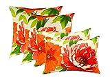 Set of 4 Indoor / Outdoor Pillows - 17'' Square Throw Pillows & 11'' x 19'' Rectangle / Lumbar Decorative Throw Pillows - Coral, Teal, Green, Peach, Yellow Monet Watercolor Floral