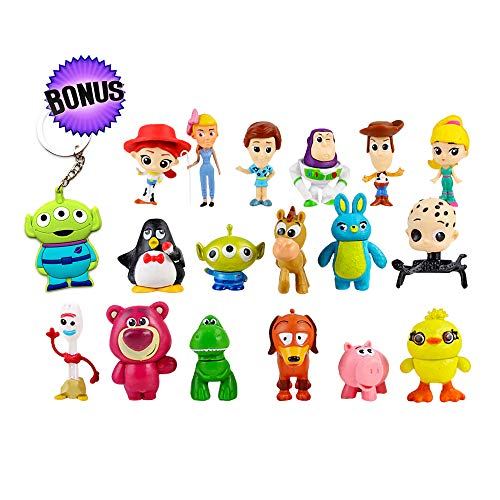 Cake Figurines Kids (Toy Story Action Figures - Set of 17 Mini Figurines for Kids - Collectible Toy Store Cake Toppers - Great Party Favors for Toddlers - Action Figure Set with Keychain)