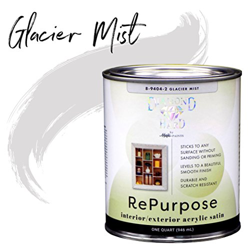 (Majic Paints 8-9404-2 Diamond Hard Interior/Exterior Satin Paint RePurpose your Furniture, Cabinets, Glass, Metal, Tile, Wood and More and More, 1-Quart, Glacier Mist)