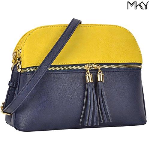 with Tassel Navy Medium Yellow Women Compartment Crossbody Lightweight Blue Shoulder Bag Purse qW8H0Twg