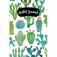 Bullet Journal: Cactus Pink Flowers 160 Dot Grid Journaling Pages, 6 x 9 Blank Notebook with 1/4 inch Dotted Paper, Perfect Bound Softcover