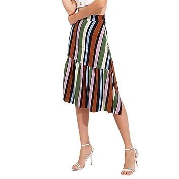 7b14de6976 ZHRUI Falda Impresa de Rayas para Mujer Falda asimétrica de Dama fluida con  Volantes Falda Larga de Cadera de Bodycon (Color   Verde